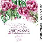 pink peony flowers watercolor... | Shutterstock .eps vector #1294725454