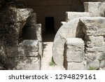 Small photo of Ancient burial cave with large rolling-stone at its entrance. Pottery shards found inside indicate the cave was used from the first century CE until the Second Jewish Revolt against the Romans. Israel