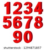 set of red arabic numbers ... | Shutterstock . vector #1294871857