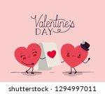 hearts love couple kawaii... | Shutterstock .eps vector #1294997011