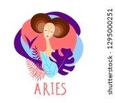 cartoon illustration of zodiac... | Shutterstock .eps vector #1295000251