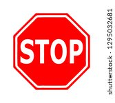red stop sign isolated on white ... | Shutterstock .eps vector #1295032681