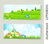 set of easter cards with... | Shutterstock .eps vector #129508241