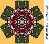 hexagonal round mandala pattern ... | Shutterstock .eps vector #129508634