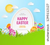 happy easter background.... | Shutterstock .eps vector #1295112127
