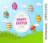 happy easter background.... | Shutterstock .eps vector #1295112151