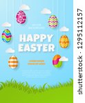 happy easter background.... | Shutterstock .eps vector #1295112157