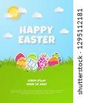 happy easter background.... | Shutterstock .eps vector #1295112181