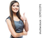 smiling business woman thumb up ... | Shutterstock . vector #129512291