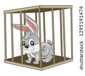 Stock vector cute cartoon rabbit inside steel cage animals in the cage bunny isolated on white background 1295191474