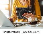 businesswoman using mobile... | Shutterstock . vector #1295213374