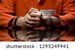 prisoner in handcuffs clenching ... | Shutterstock . vector #1295249941