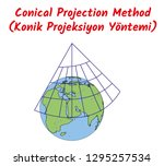 conical projection method  | Shutterstock .eps vector #1295257534