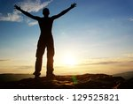tourist in mountain. element of ... | Shutterstock . vector #129525821