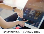 woman hand with smart watch on...   Shutterstock . vector #1295291887