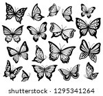 Stock vector drawing butterflies stencil butterfly moth wings and flying insects butterflies tattoo sketch 1295341264