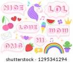 cute lol stickers. wow  omg and ... | Shutterstock .eps vector #1295341294