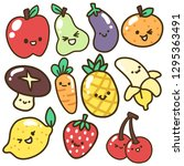 collection set of cute fruits... | Shutterstock .eps vector #1295363491