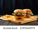 fresh tasty beef burger with... | Shutterstock . vector #1295363974