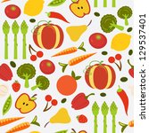 a colorful fruit and vegetables ... | Shutterstock . vector #129537401