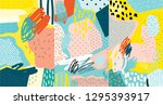 Stock vector creative doodle art header with different shapes and textures collage vector 1295393917