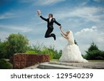 happy young bride and groom... | Shutterstock . vector #129540239