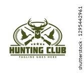 deer or duck hunting logo  club ... | Shutterstock .eps vector #1295442961