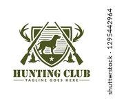 deer or duck hunting logo  club ... | Shutterstock .eps vector #1295442964