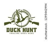 hunting logo   duck hunting... | Shutterstock .eps vector #1295442994