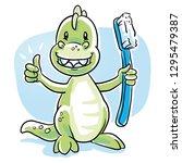 cute cartoon dinosaur with... | Shutterstock .eps vector #1295479387