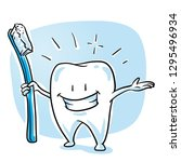 cute happy cartoon tooth... | Shutterstock .eps vector #1295496934