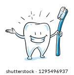 cute happy cartoon tooth... | Shutterstock .eps vector #1295496937