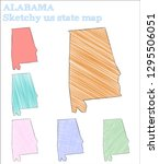 alabama sketchy us state.... | Shutterstock .eps vector #1295506051