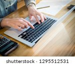 hand s female typing on... | Shutterstock . vector #1295512531