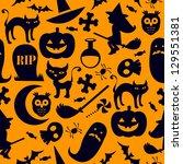 a spooky seamless halloween... | Shutterstock . vector #129551381