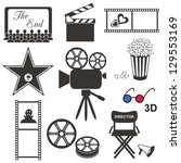 set of black movie icons on... | Shutterstock .eps vector #129553169