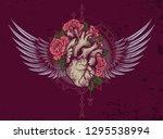human heart in engraving... | Shutterstock .eps vector #1295538994