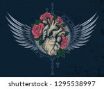 human heart in engraving... | Shutterstock .eps vector #1295538997