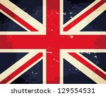 vintage union jack flag.   Shutterstock .eps vector #129554531