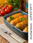 traditional stuffed cabbage... | Shutterstock . vector #1295573977