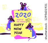 2020 mouse happy new year... | Shutterstock .eps vector #1295601931