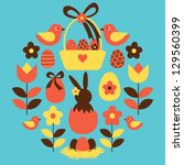 A Set Of Cute Easter Design...