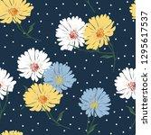 blossom floral seamless pattern ... | Shutterstock .eps vector #1295617537