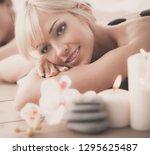 two young beautiful women... | Shutterstock . vector #1295625487