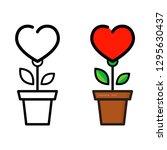 cartoon heart flower in a pot... | Shutterstock .eps vector #1295630437