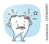 cute sick cartoon tooth having... | Shutterstock .eps vector #1295643907