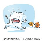 cute cartoon tooth being chased ... | Shutterstock .eps vector #1295644537