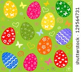 easter pattern seamless with... | Shutterstock .eps vector #129564731