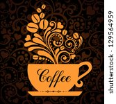 cup of coffee with floral... | Shutterstock .eps vector #129564959