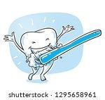 cute happy cartoon tooth... | Shutterstock .eps vector #1295658961